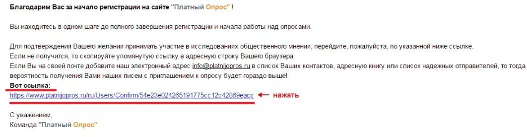 Подтверждение регистрации в Platnijopros